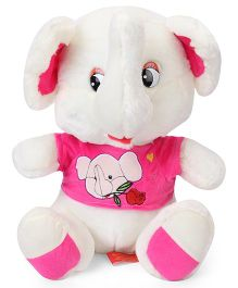 Fun Toys Elephant Soft Toy White Pink - Height 37 cm