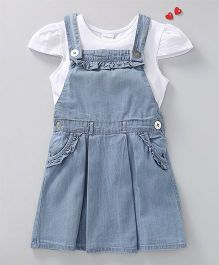 Babyoye Denim Frock With Cap Sleeves Top - Blue White