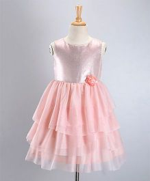 Babyoye Party Wear Sleeveless Dress Flower Applique - Peach