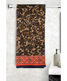 Turkish Bath Leopard Printed Bath Towels - Brown & Black