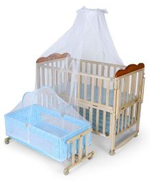 Mee Mee Mee Baby Cot With Mosquito Net And Cradle - Cream Blue