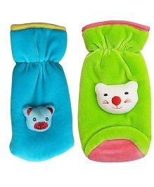 My NewBorn Velvet Bottle Cover Teddy Motif Upto 240 ml Pack of 2 - Blue Green