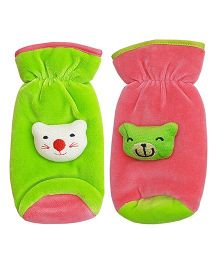 My NewBorn Velvet Bottle Cover Teddy Motif Upto 240 ml Pack of 2 - Green Pink