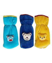 My NewBorn Velvet Bottle Cover Teddy Motif Up to 240 ml Pack of 2 - Blue Yellow