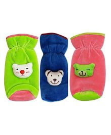 My NewBorn Velvet Bottle Cover Teddy Motif Upto 240 ml Pack of 2 - Green Blue Peach