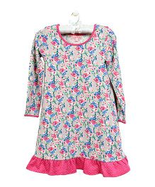 CrayonFlakes Flower Print Nighty - Grey