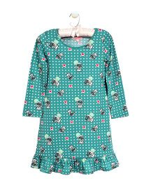 CrayonFlakes Teddy Print Nighty - Sea Green