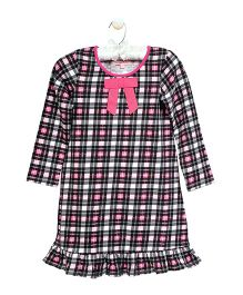 CrayonFlakes Checkered Design Nighty - Black & Pink