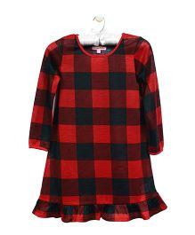 CrayonFlakes Checkered Design Nighty - Red & Black