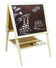Emob Dual Sided Wooden 2 in 1 Magnetic Drawing & Writing Board - White & Brown