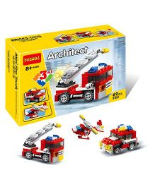 Emob 3 in 1  Fire Rescue Vehicle Building Block Set 69 Pieces - Red