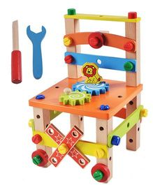 Emob Assembling Disassembling Wooden Multifunctional Chair With Nut & Screw Toys - Multicolor