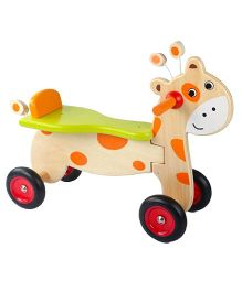 Emob Wooden Balancing Ride On Cycle Deer Design - Orange Green