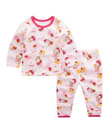 Pre Order - Awabox Doll Print Night Suit - Pink