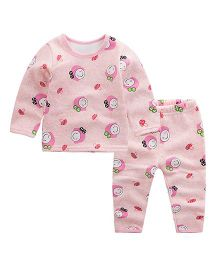 Pre Order - Awabox Smiley Print Night Suit - Pink