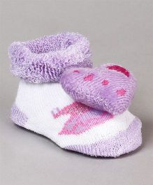 Cute Walk by Babyhug Socks Shoes Heart Motif - Purple