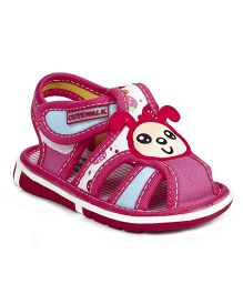 Cute Walk by Babyhug Sandals Bunny Face Patch - Dark Pink