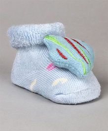Cute Walk by Babyhug Socks Shoes Fish Applique - Blue
