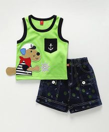 Wow Clothes Sleeveless T-Shirt With Shorts Puppy Patch - Green & Navy