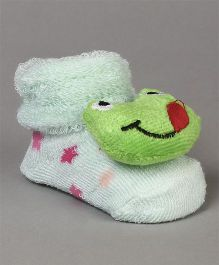 Cute Walk by Babyhug Socks Shoes Frog Face Motif - Green