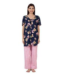 Clovia Floral Print Short Sleeve Maternity Top & Pajama Set - Blue & Pink