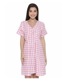 Clovia Short Sleeve Cotton Checkered Print Maternity Dress - Pink