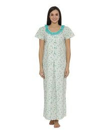 Clovia Short Sleeves Floral Print Maternity Nighty - Green