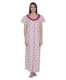 Clovia Short Sleeves Floral Print Maternity Nighty - Pink