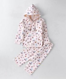 Cucumber Winter Wear Full Sleeves Hooded T-Shirt And Lounge Pant Multiprint - Light Pink