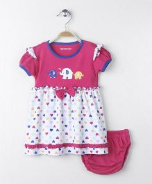Wonderchild Elephant Applique Knitted Dress - Pink & White