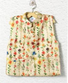 Lilpicks Couture Floral Print Silk Jacket - Off White