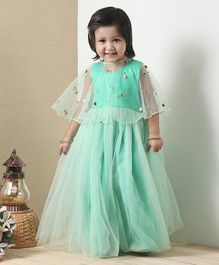 Babyoye Sleeveless Ethnic Dress With Net Cape - Green