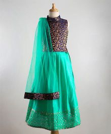 Babyoye Sleeveless Choli With Lehenga & Dupatta - Sea Green