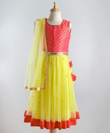 Babyoye Sleeveless Choli With Lehenga & Dupatta Lace Design - Yellow Red