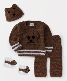 The Original Knit Teddy Design Sweater With Pyajama Cap & Booties - Brown