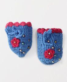 The Original Knit Mittens With Beads - Blue