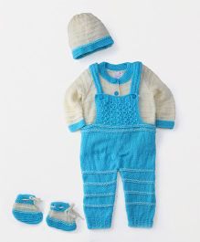 The Original Knit Dungree Style Sweater With Cap & Booties - Off White & Blue