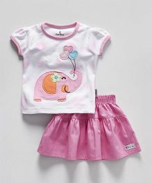 Child World Short Sleeves Top & Pleated Skirt Elephant Patch - White Pink