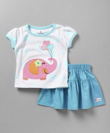 Child World Short Sleeves Top & Pleated Skirt Elephant Patch - White Blue