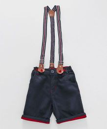 Olio Kids Turn Up Hem Shorts With Suspenders - Navy Blue