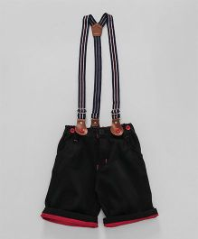 Olio Kids Turn Up Hem Shorts With Suspenders - Black