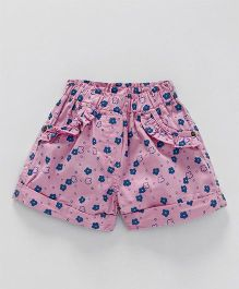Olio Kids Shorts Floral Print - Light Pink