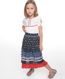 Yo Baby Peasant Top & Skirt - White Blue & Red