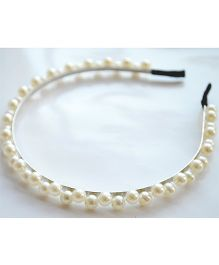 Pretty Ponytails Pearl Double Lined Hair Band - White