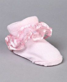 Cute Walk by Babyhug Designer Sock Shoes With Lace - White