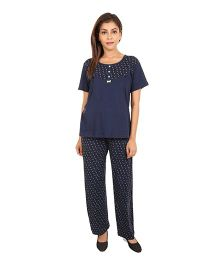9teenAGAIN Short Sleeve Cotton Maternity Night Suit Set - Navy Blue & Green