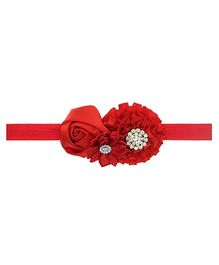 Aadhya Cute Floral Headband- Red