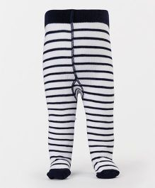 Mustang Footed Stocking Tights Stripes Design - White & Navy
