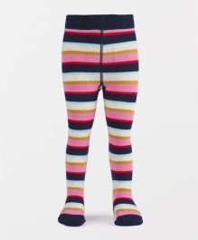 Mustang Footed Stocking Tights Stripes Design - Pink & Navy
