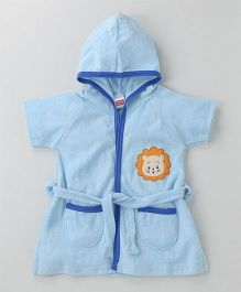 Babyhug Short Sleeves Terry Hooded Bathrobe Lion Face Patch - Light Blue